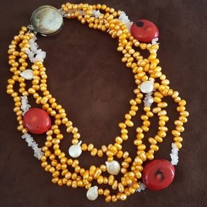 Jewelry - NEW Freshwater Pearl Red Coral Necklace